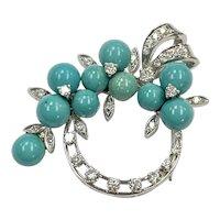 Turquoise & Diamond 1.40 ctw Pendant/Brooch 14K White Gold