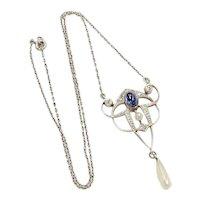 Edwardian Lavaliere Necklace Sapphire, Diamond, Pearl, Platinum & 14K Gold