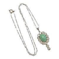 Edwardian Persian Turquoise & Diamond 2.10 Ct. Halo Pendant Platinum 14K Gold
