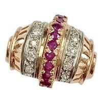 Retro Ruby & Diamond Ring .85 Carat tw 14K Rose & White Gold
