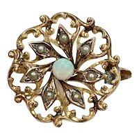 Petite Victorian Pin Opal & Seed Pearl 14K Gold
