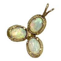 OPAL Three-Stone Vintage Pendant 14K Gold