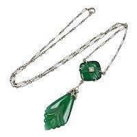 Art Deco Chrysoprase & Diamond Drop Necklace 14K White Gold
