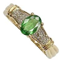 Tsavorite Garnet & Diamond .81 Carat tw Vintage Ring 14K Gold