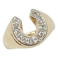 Vintage Diamond Horseshoe Ring .45 Carat tw 14K Two Tone Gold