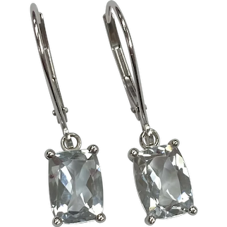 Aquamarine Vintage Dangle Earrings 2.80 Carats tw 14K White Gold
