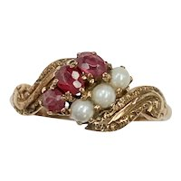 Victorian Ruby & Seed Pearl Ring 10K Rose Gold