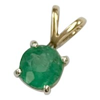 Natural Emerald Pendant .47 Carat 14K Two Tone Gold, May Birthstone