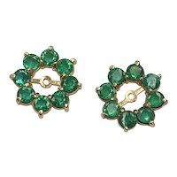 Natural Emerald HALO Earring Jackets 2.72 Carats tw 14K Gold