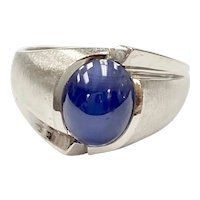 Blue Star Sapphire Vintage Ring 14K White Gold, Lab 4.0 Carats