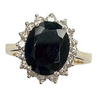 Sapphire & Diamond Halo Ring 5.37 Carats tgw 14K Two-Tone Gold