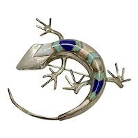 Native American Crafted LIZARD Pendant/Brooch Colorful Intarsia Sterling Silver