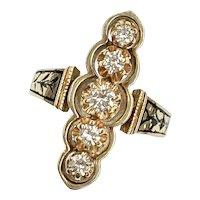Victorian Revival Diamond Ring .52 Carat tw 14K Gold Taille d'Epargné Enamel