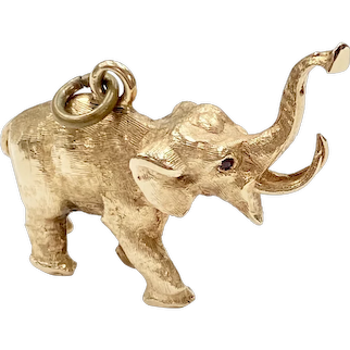 Big Lucky ELEPHANT Charm/Pendant SOLID 14K Gold & Ruby Three-Dimensional