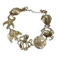 Big Nautical Sea Life Bracelet 14K Gold