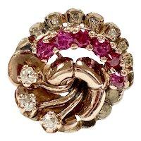 Retro Ruby & Diamond Ring 14K Rose & White Gold, .80 Carats tw