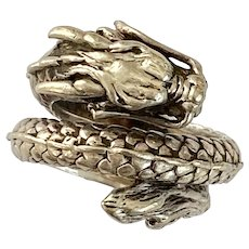 Chinese Dragon / Sea Serpent Vintage Ring Sterling Silver