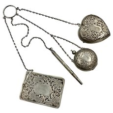 Victorian Finger Chatelaine with 4 Notions, Dance Pad, Pencil, Coin & Makeup Lockets