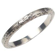 Detailed Art Deco Hand Engraved Wedding Band Ring 18k White Gold