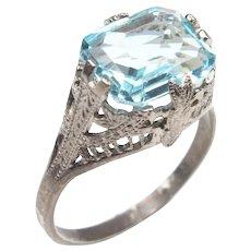 Art Deco FIligree Aqua Blue Paste 3.50 carat Emerald Ring Sterling Silver