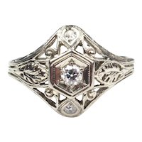 Art Deco Diamond Ring 0.14 ctw 18k White Gold