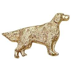 Setter or Retriever Type DOG Vintage Brooch 14K Gold