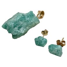 Natural Organic EMERALD Rough Pendant & Earring Set 14K Gold