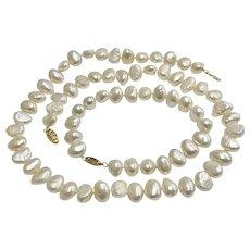 Big Baroque Fresh Water Cultured Pearl Set Necklace & Bracelet 14K Gold, 10-12 mm