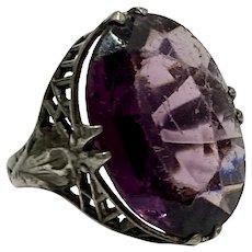 Art Deco Filigree Ring Faux Amethyst & Sterling Silver