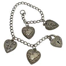 Puffy Heart Sweetheart Bracelet Sterling Silver, Heart Lock & 4 Charms
