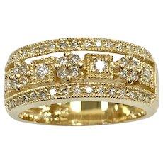 Diamond Vintage Band Ring, .40 Carat tw Floral Design 14K Gold