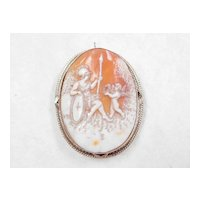 Cameo Greek Mythology Athena & Eros 14k White Gold Pendant / Brooch