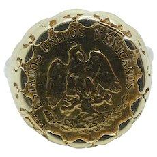 1945 Dos Pesos Mexican Coin Ring 14k & 22k Yellow Gold