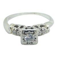 Vintage Diamond .19 ctw Engagement Ring 14k White Gold