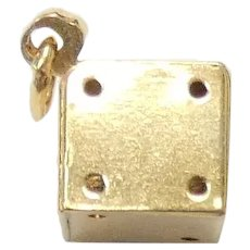 3D Dice Pendant / Charm 14k Yellow Gold