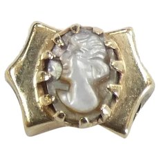Victorian Revival Mother of Pearl Cameo Slide Charm 14k Yellow Gold
