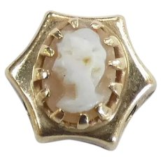 Victorian Revival Cameo Slide Charm 14k Yellow Gold