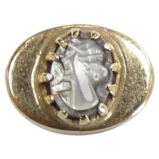 Victorian Revival Mother of Pearl Oval Cameo Slide Charm 14k Yellow Gold