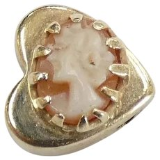 Victorian Revival Cameo Heart Slide Charm 14k Yellow Gold