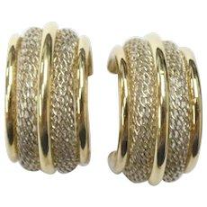 VINTAGE Two-Tone Mesh 14k Yellow Gold & Sterling Silver Hoop Earrings
