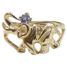Charming .06ct Iolite Elephant Ring 14k Yellow Gold