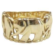Parading Multi Elephant Ring 14k Yellow Gold