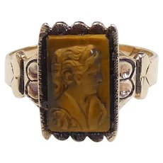Victorian Tigers Eye Carved Cameo Ring 10k Yellow Gold
