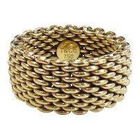 """10mm Tiffany & Co """"Somerset"""" Wide Mesh Ring 18K Yellow Gold"""