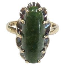 Victorian Revival Green Jade Ring 10k Yellow Gold