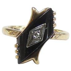 Romantic Victorian Revival Onyx & .02ct Diamond Ring 10k Yellow Gold