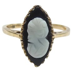 Victorian Revival Navette Onyx Cameo Ring 10k Yellow Gold
