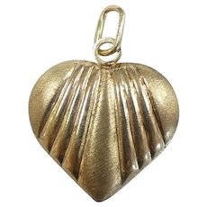 Puffed Heart Pendant / Charm 14k Yellow Gold