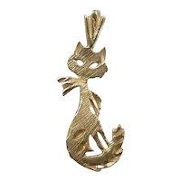 Sassy Diamond Cut Cat Pendant / Charm 14k Yellow Gold
