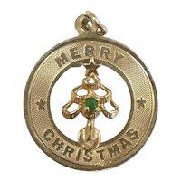 Merry Christmas Tree Pendant / Charm 14k Yellow Gold